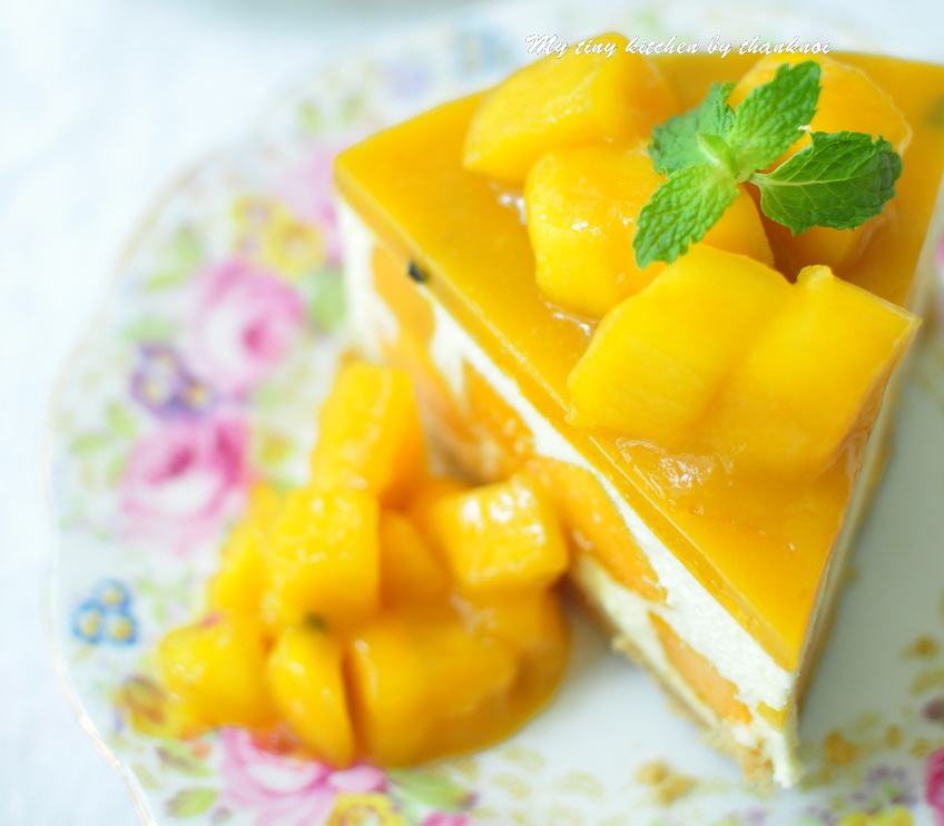No bake mango passion fruit cheese cake