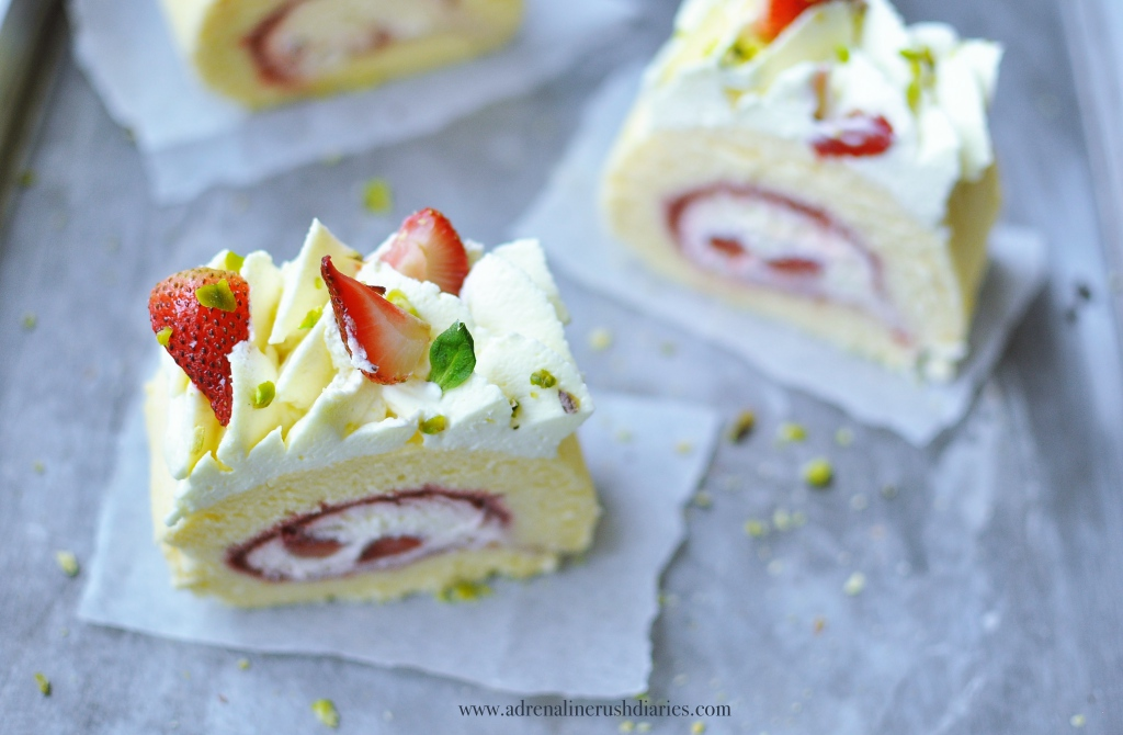 Strawberry Cardamom Roll Cake