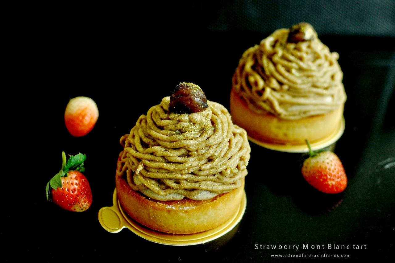 strawberry mont blanc tart
