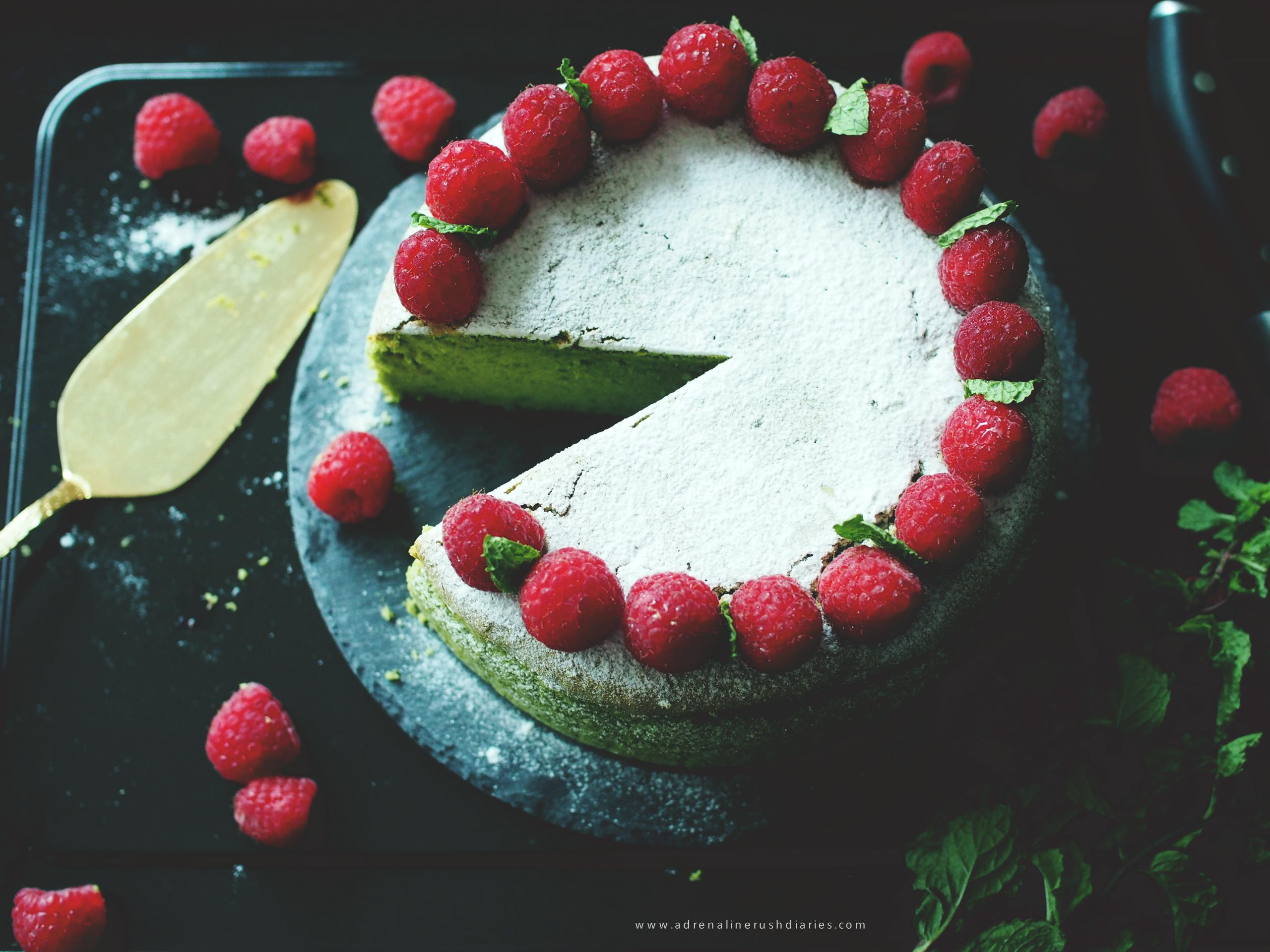 raspberry green tea cheesecake