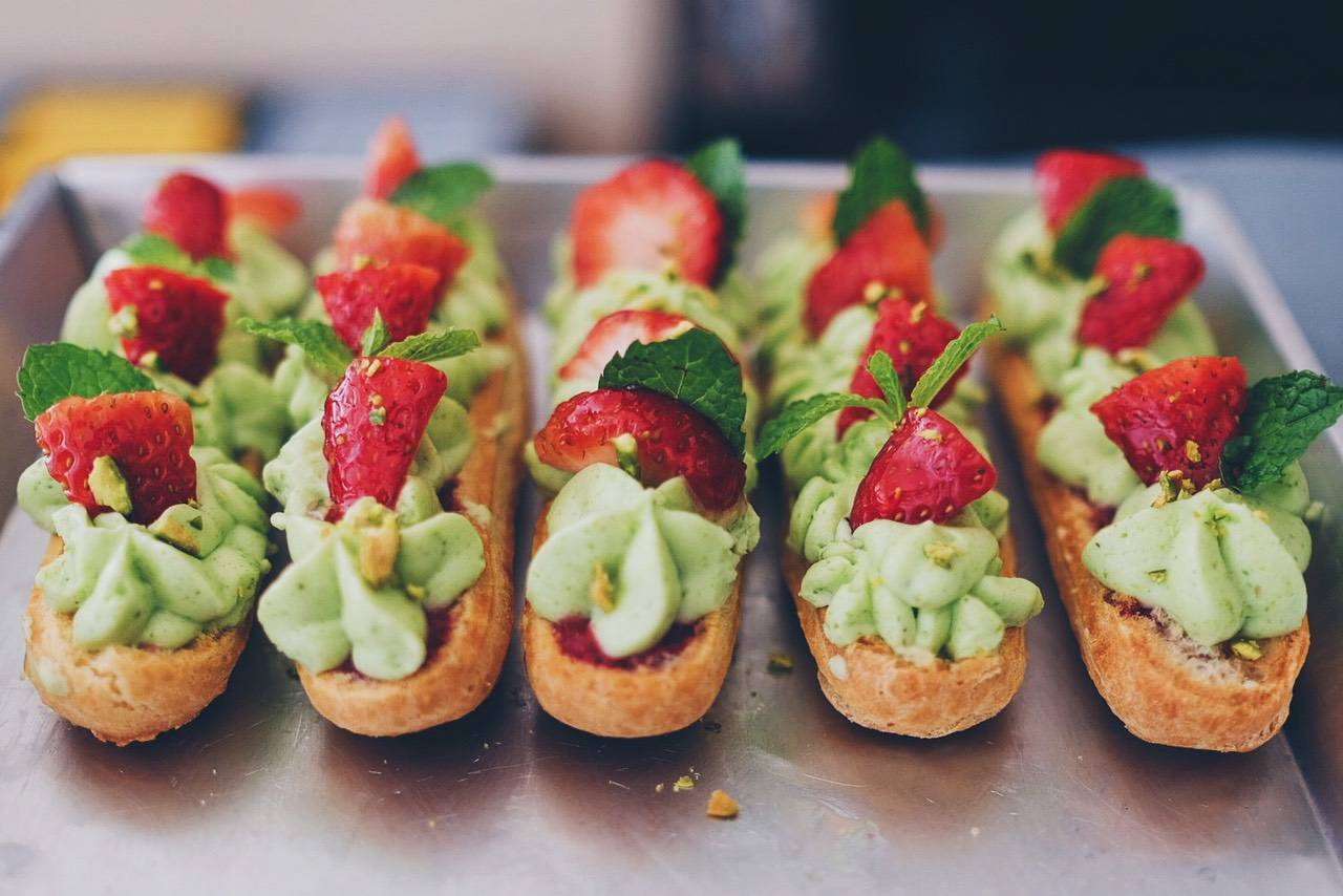 Strawberry Pistachio White chocolate Eclair