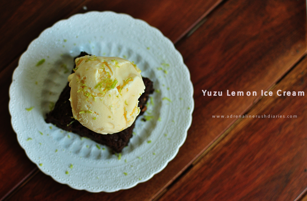 Home made lemon yuzu ice cream